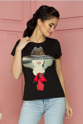 Tricou Girly negru cu imprimeu si paiete