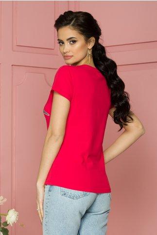 Tricou Girly rosu cu imprimeu si paiete