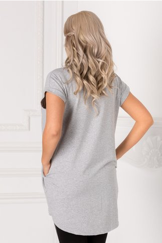 Tricou gri lung lejer cu insertii argintii pe fata