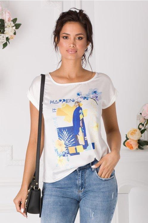 Tricou Happen alb cu imprimeu albastru si galben