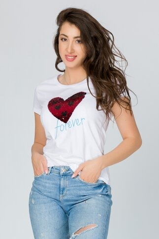 Tricou Heart alb cu paiete reversibile