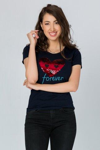 Tricou Heart bleumarin cu paiete reversibile