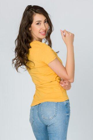 Tricou Heart galben mustar cu paiete reversibile multicolore