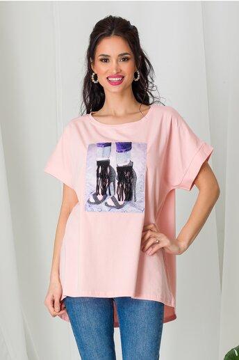 Tricou High Heels roz cu franjuri si strasuri