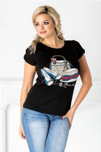 Tricou Hope negru cu imprimeu si insertii la bust