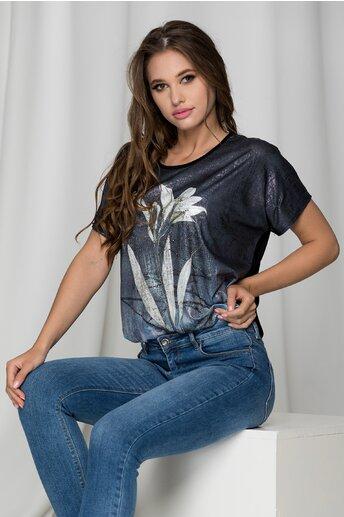 Tricou Irisa negru cu detalii cu relflexii si imprimeu