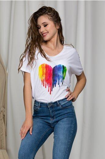 Tricou Isha alb cu inima multicolora