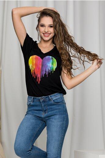 Tricou Isha negru cu inima multicolora