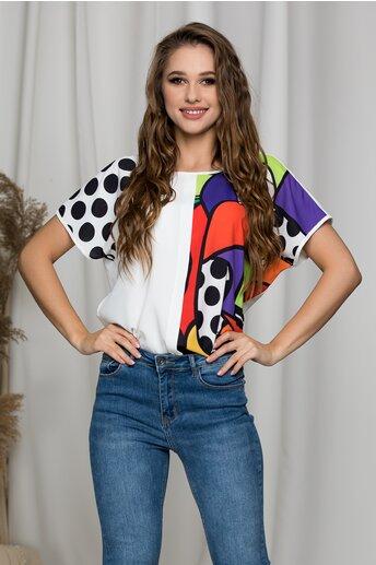 Tricou Jeny alba cu buline si imprimeuri colorate