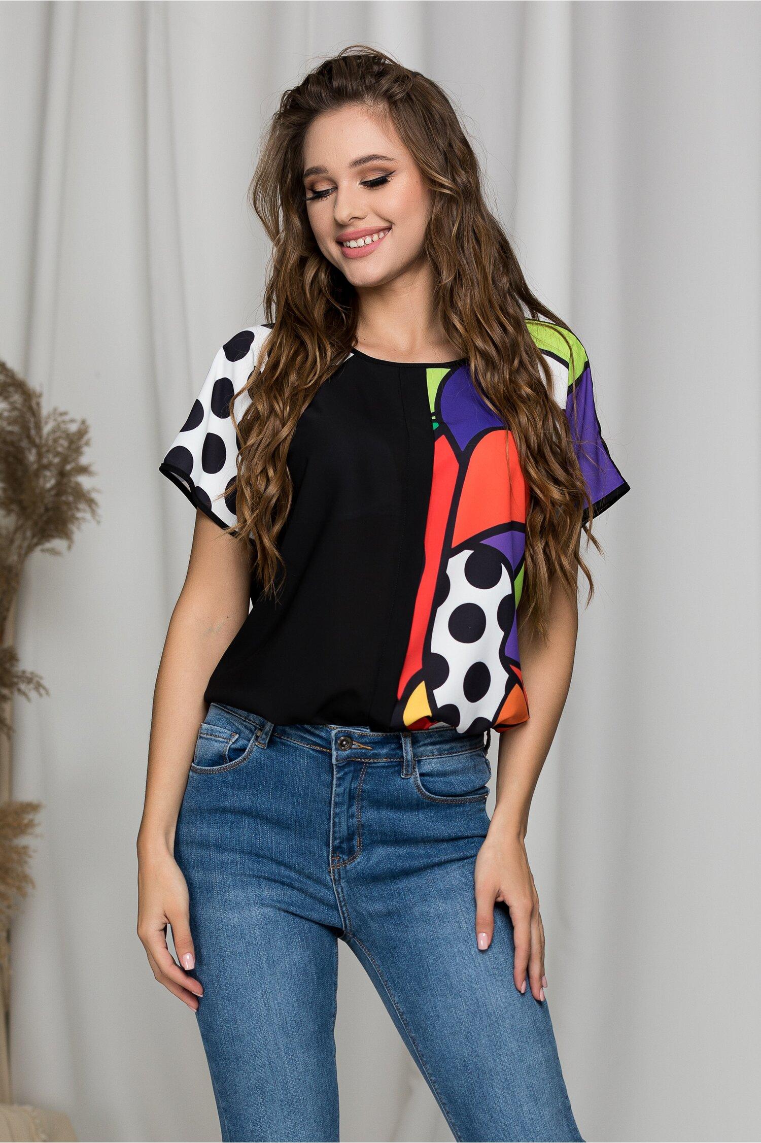 Tricou Jeny negru cu buline si imprimeuri colorate