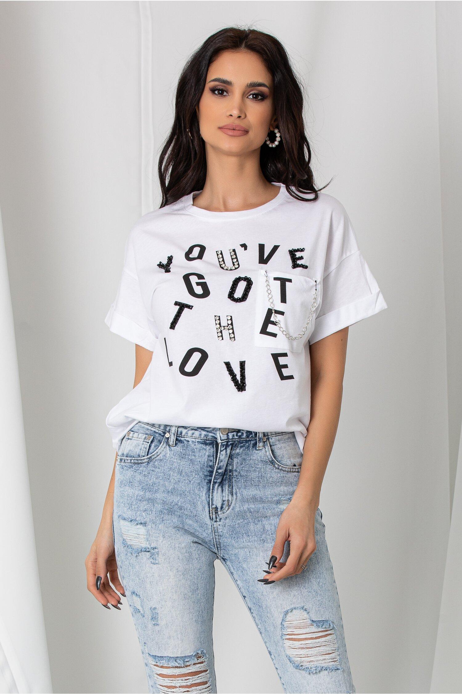 Tricou Katy alb lejer cu imprimeu text