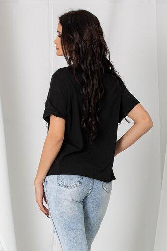 Tricou Katy negru lejer cu imprimeu text