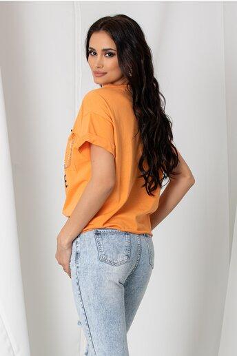 Tricou Katy orange lejer cu imprimeu text