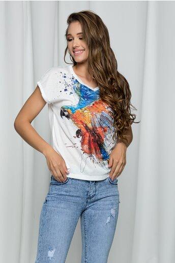 Tricou Kiki ivory cu imprimeu papagal