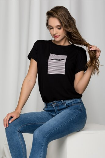 Tricou Kitty negru cu imprimeu pe bust