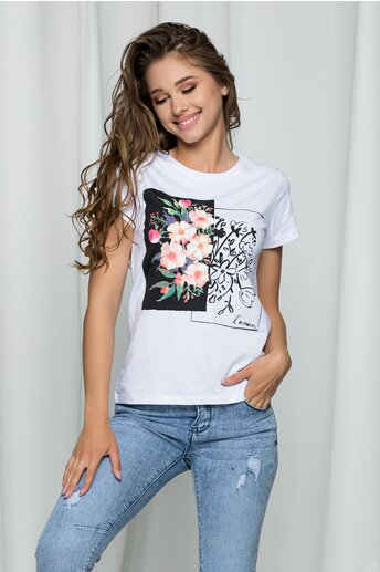Tricou L'amour alb cu imprimeu floral