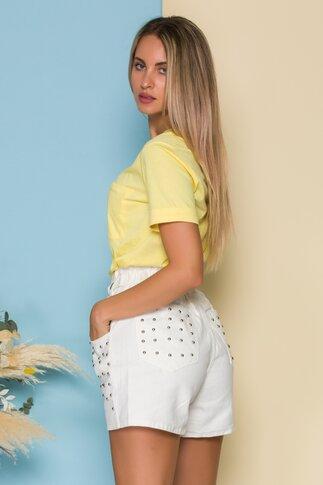 Tricou LaDonna by Catalin Botezatu galben cu decupaj in spate
