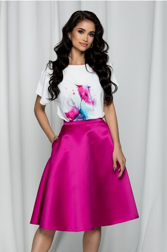 Tricou LaDonna by DYFashion alb cu imprimeu floral fucsia si albastru