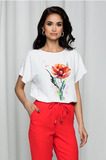 Tricou LaDonna by DYFashion alb cu imprimeu floral mac