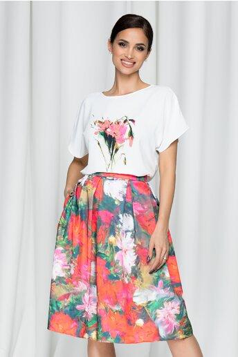 Tricou LaDonna by DYFashion alb cu imprimeu floral roz