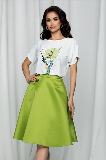 Tricou LaDonna by DYFashion alb cu imprimeu floral verde deschis