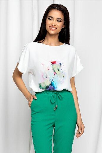 Tricou LaDonna by DYFashion alb cu imprimeu floral verde lime si rosu