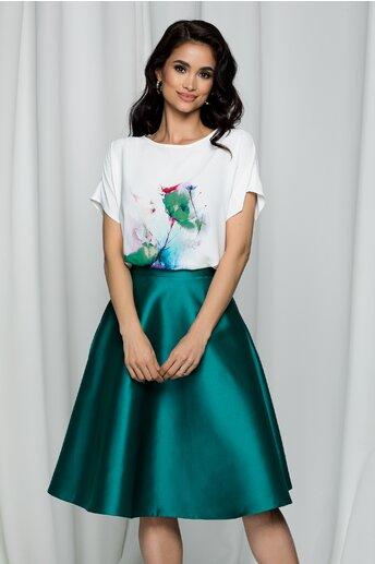 Tricou LaDonna by DYFashion alb cu imprimeu floral verde si rosu