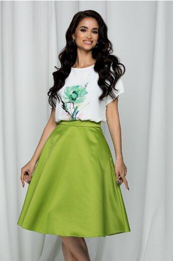 Tricou LaDonna by DYFashion alb cu imprimeu floral verde si roz
