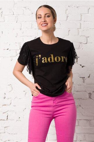 Tricou LaDonna negru cu insertie din tull la maneci si text pe bust