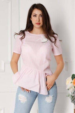 Tricou LaDonna roz cu dungi