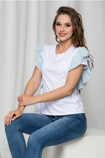 Tricou Lara alb cu volanas bleu la maneci