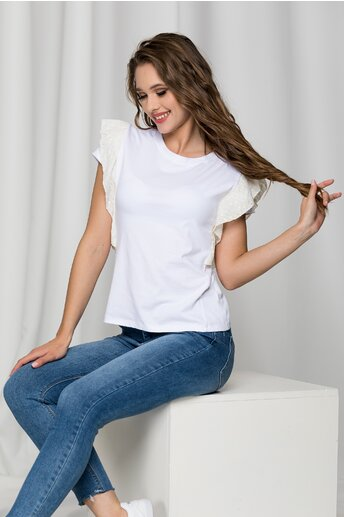 Tricou Lara alb cu volanas ivory la maneci