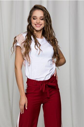 Tricou Lara alb cu volanas roz pudra la maneci