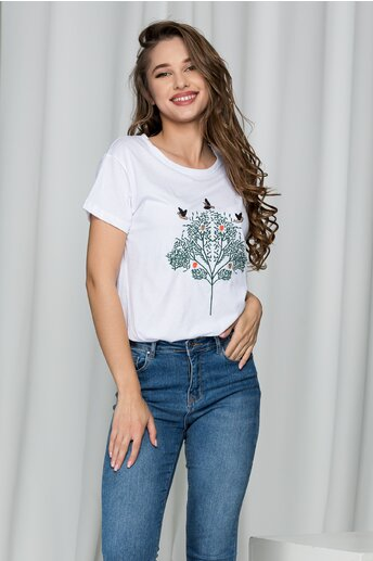 Tricou Loly alb din bumbac cu broderie la bust