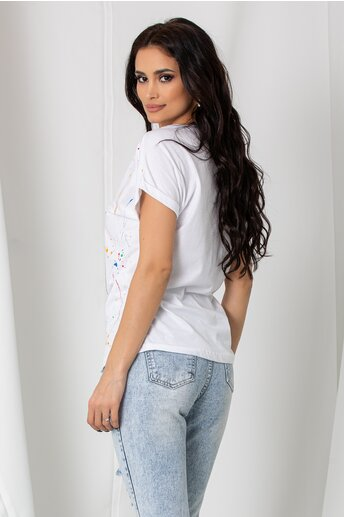 Tricou Lucia alb cu imprimeu dinamic