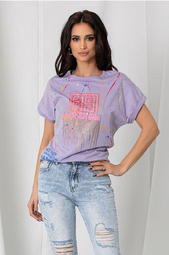Tricou Lucia lila cu imprimeu dinamic