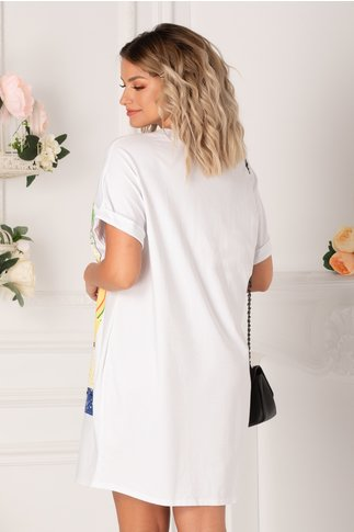 Tricou lung alb cu imprimeu abstract in nuante pastelate