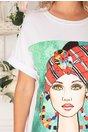 Tricou lung alb cu imprimeu cu portret