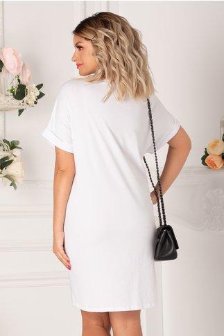 Tricou lung alb cu imprimeu summer
