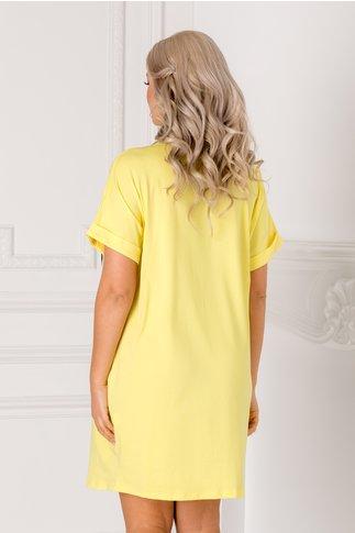 Tricou lung galben over size cu imprimeu pe fata