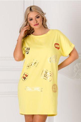 Tricou lung galben over size cu mesaje pe fata