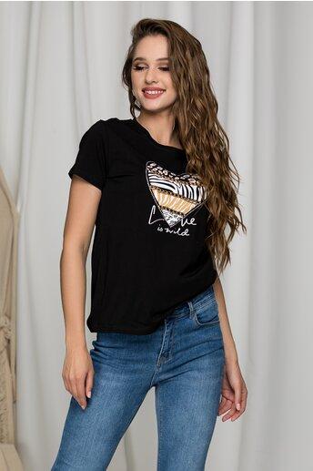 Tricou Madi negru cu imprimeu si detalii metalice
