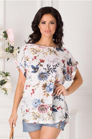 Tricou Marilu alb cu imprimeu floral