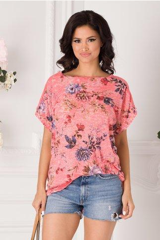 Tricou Marilu roz cu imprimeu floral