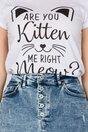 Tricou Kitten alb cu imprimeu si mesaj