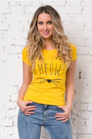 Tricou Meow galben cu imprimeu