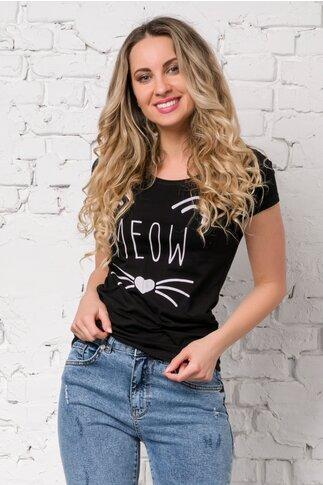 Tricou Meow negru cu imprimeu