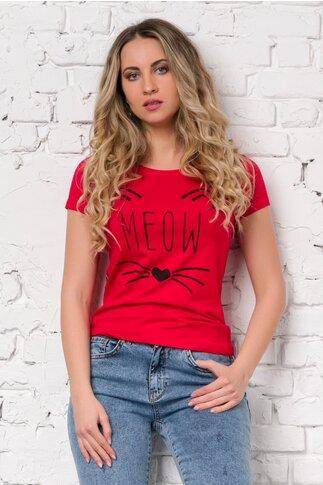 Tricou Meow rosu cu imprimeu