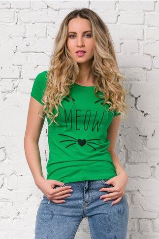 Tricou Meow verde cu imprimeu