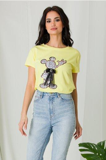 Tricou Mickey galben cu funda si imprimeu text